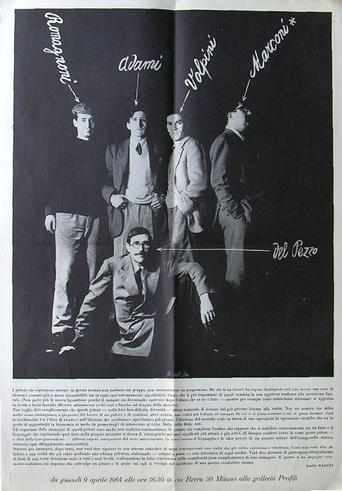 Romagnoni Adami Volpini Del Pezzo. Galleria Profili di Milano, aprile 1964